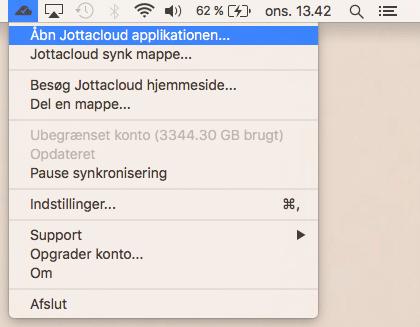 Åbn Jottacloud på Mac