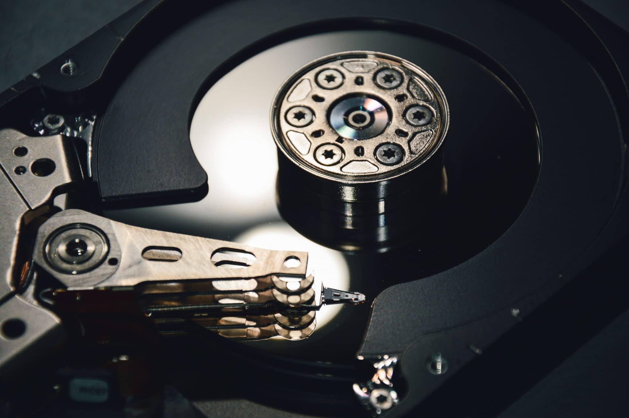 nærbillede af harddisk