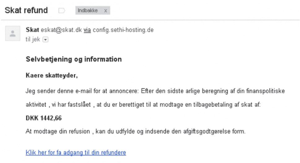 Falsk mail fra SKAT